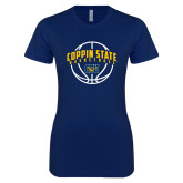 Next Level Ladies SoftStyle Junior Fitted Navy Tee-Coppin State Basketball Arched w/ Ball