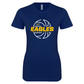 Next Level Ladies SoftStyle Junior Fitted Navy Tee-Eagles Basketball Split Lined Ball