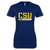 Next Level Ladies SoftStyle Junior Fitted Navy Tee-CSU Basketball Stencil