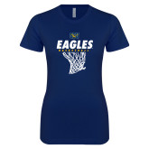 Next Level Ladies SoftStyle Junior Fitted Navy Tee-Eagles Basketball w/ Hanging Net