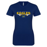 Next Level Ladies SoftStyle Junior Fitted Navy Tee-Eagles Club Football Stacked