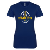 Next Level Ladies SoftStyle Junior Fitted Navy Tee-Coppin State Eagles Football Vertical