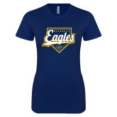 Next Level Ladies SoftStyle Junior Fitted Navy Tee-Eagles Baseball Plate w/ Script