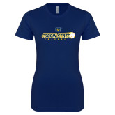 Next Level Ladies SoftStyle Junior Fitted Navy Tee-Coppin State Baseball Flying Ball