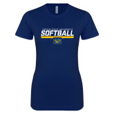 Next Level Ladies SoftStyle Junior Fitted Navy Tee-Coppin State University Softball Stencil