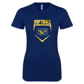 Next Level Ladies SoftStyle Junior Fitted Navy Tee-Softball Plate