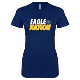 Next Level Ladies SoftStyle Junior Fitted Navy Tee-Eagle Nation