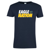 Ladies Navy T Shirt-Eagle Nation