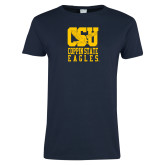 Ladies Navy T Shirt-CSU Coppin State Eagles