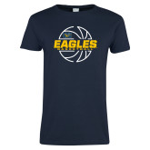 Ladies Navy T Shirt-Eagles Basketball Split Lined Ball