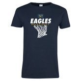 Ladies Navy T Shirt-Eagles Basketball w/ Hanging Net