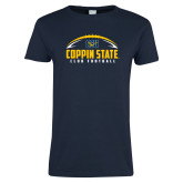 Ladies Navy T Shirt-Coppin State Club Football w/ Football