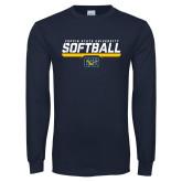 Navy Long Sleeve T Shirt-Coppin State University Softball Stencil