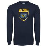Navy Long Sleeve T Shirt-Softball Plate