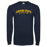 Navy Long Sleeve T Shirt-Arched Coppin State Eagles