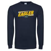 Navy Long Sleeve T Shirt-Slanted Eagles w/ Logo