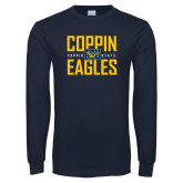 Navy Long Sleeve T Shirt-Coppin Eagles Stacked