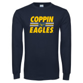 Navy Long Sleeve T Shirt-Coppin Eagles Stacked w/ Stripes