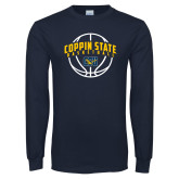 Navy Long Sleeve T Shirt-Coppin State Basketball Arched w/ Ball