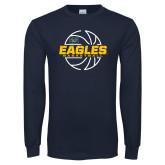 Navy Long Sleeve T Shirt-Eagles Basketball Split Lined Ball