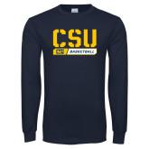 Navy Long Sleeve T Shirt-CSU Basketball Stencil