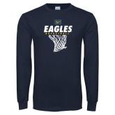 Navy Long Sleeve T Shirt-Eagles Basketball w/ Hanging Net