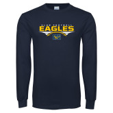 Navy Long Sleeve T Shirt-Eagles Club Football Stacked