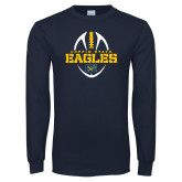 Navy Long Sleeve T Shirt-Coppin State Eagles Football Vertical
