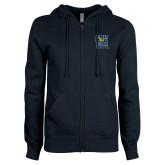 ENZA Ladies Navy Fleece Full Zip Hoodie-CSU Coppin State Eagles