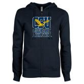 ENZA Ladies Navy Fleece Full Zip Hoodie-CSU Coppin State Athletics