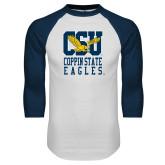 White/Navy Raglan Baseball T-Shirt-CSU Coppin State Eagles