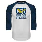 White/Navy Raglan Baseball T-Shirt-CSU Coppin State Athletics