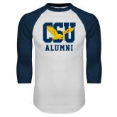 White/Navy Raglan Baseball T-Shirt-Alumni