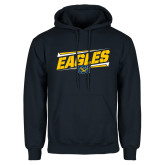 Navy Fleece Hoodie-Slanted Eagles w/ Logo