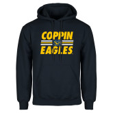 Navy Fleece Hoodie-Coppin Eagles Stacked w/ Stripes