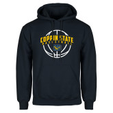 Navy Fleece Hoodie-Coppin State Basketball Arched w/ Ball