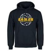 Navy Fleece Hoodie-Eagles Basketball Split Lined Ball