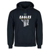 Navy Fleece Hoodie-Eagles Basketball w/ Hanging Net