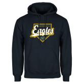 Navy Fleece Hoodie-Eagles Baseball Plate w/ Script