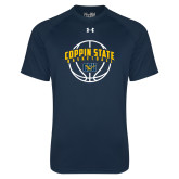Under Armour Navy Tech Tee-Coppin State Basketball Arched w/ Ball