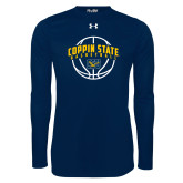 Under Armour Navy Long Sleeve Tech Tee-Coppin State Basketball Arched w/ Ball