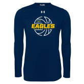 Under Armour Navy Long Sleeve Tech Tee-Eagles Basketball Split Lined Ball