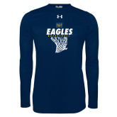 Under Armour Navy Long Sleeve Tech Tee-Eagles Basketball w/ Hanging Net
