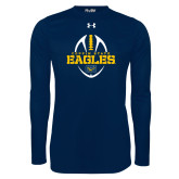 Under Armour Navy Long Sleeve Tech Tee-Coppin State Eagles Football Vertical
