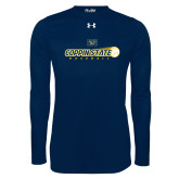 Under Armour Navy Long Sleeve Tech Tee-Coppin State Baseball Flying Ball