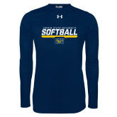 Under Armour Navy Long Sleeve Tech Tee-Coppin State University Softball Stencil