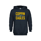 Youth Navy Fleece Hoodie-Coppin Eagles Stacked