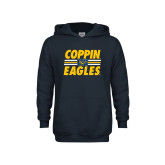 Youth Navy Fleece Hoodie-Coppin Eagles Stacked w/ Stripes