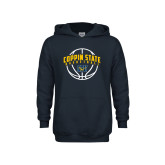 Youth Navy Fleece Hoodie-Coppin State Basketball Arched w/ Ball