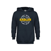 Youth Navy Fleece Hoodie-Eagles Basketball Split Lined Ball